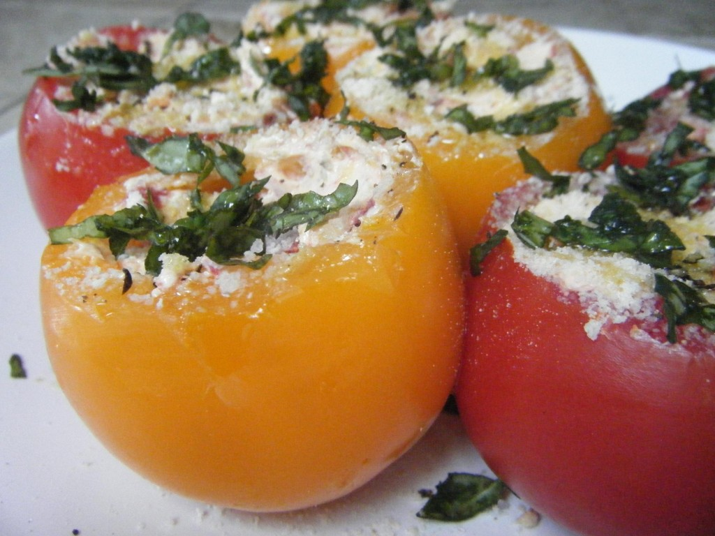 Goat Cheese Stuffed Heirloom Tomatoes